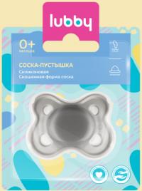 Лубби пустышка силикон ортодонт кнопочка 0+  (13654)