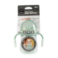 Хэппи беби бутылочка 180мл с ручками антиколиковая соска силикон 10011